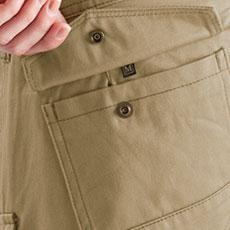 フラップ付きポケット(左・ドットボタン止め)