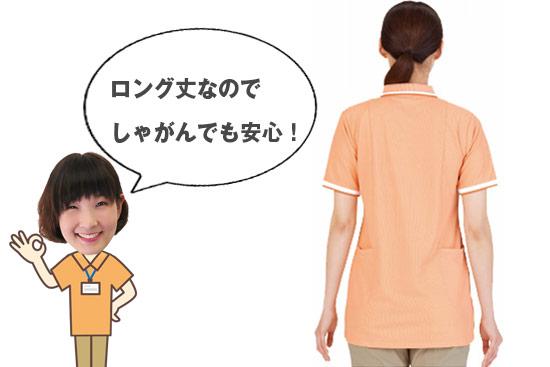 介護ポロシャツ 着丈の長さイメージ画像