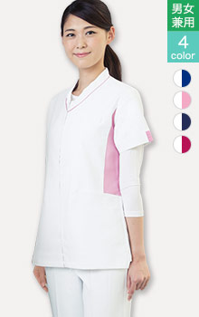 01-WH12085 透け防止クリニックユニフォーム 白いスクラブ
