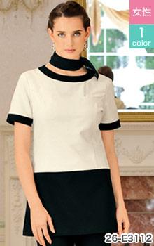 シロタコーポレーションの汚れに強い高機能素材を使ったツートン配色のチュニック白衣