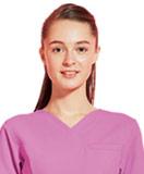 パープル、紫のスクラブ白衣