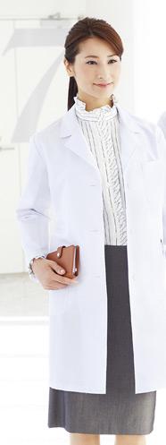 レディースシングルハーフコート、白衣