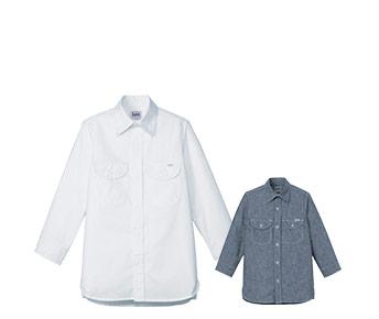 ボンマックスのシャンブレー七分袖シャツ(34-LCS43003)