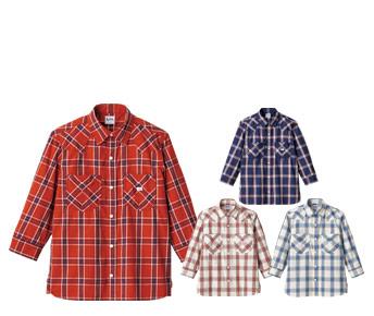 ボンマックスのチェック七分袖シャツ(34-LCS43007)