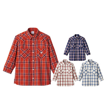 ボンマックスのチェック七分袖シャツ(34-LCS46007)