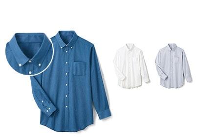 サンペックスイストの長袖ボタンダウンシャツ(33-SBLU1809)