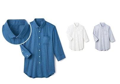 サンペックスイストの七分袖セミワイドカラーシャツ(33-SBSU1810)