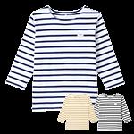 ボーダー柄の七分袖バスクシャツ(31-AS8253)
