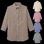 爽やか好印象を与えるギンガムチェック柄の七分袖ボタンダウンシャツ