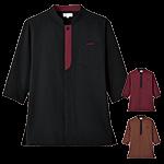 和モダンな雰囲気を演出するスタンドカラーの七分袖ショップコート