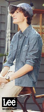 Leeの男性用長袖シャツ