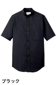 人気のスタンドカラー半袖シャツ(ブラック)