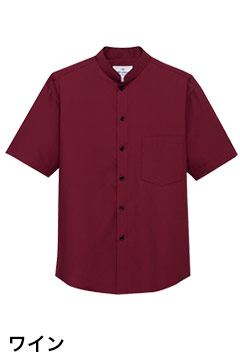 人気のスタンドカラー半袖シャツ(ワイン)