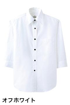 人気の七分袖カジュアルシャツ(オフホワイト)