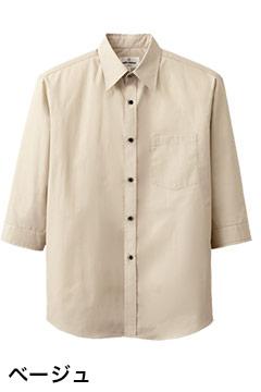 人気の七分袖カジュアルシャツ(ベージュ)