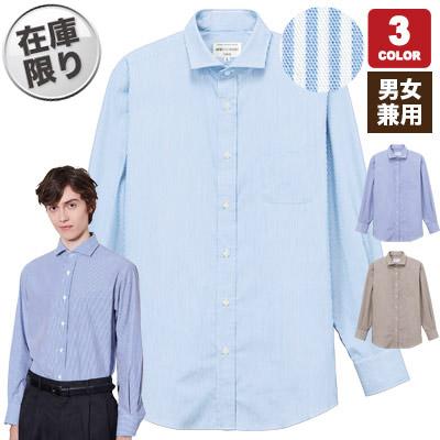 長袖ワイドカラーストライプシャツ(31-EP8368)