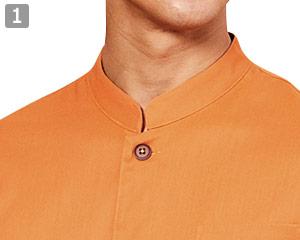 七分袖和風シャツのポイント�スタンドカラー
