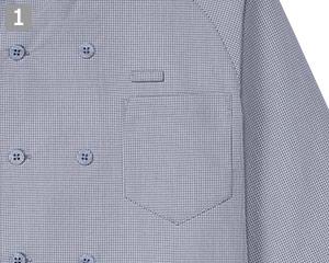 七分袖コックシャツのポイント�名札ループとポケット