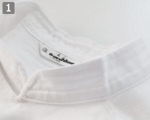 半袖コックコート�ステッチ入りの襟元