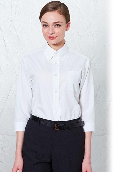 チトセの七分袖ボタンダウンシャツ(31-EP8358)のポイント画像