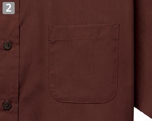 半袖スタンドカラーシャツのポイント�左胸ポケット