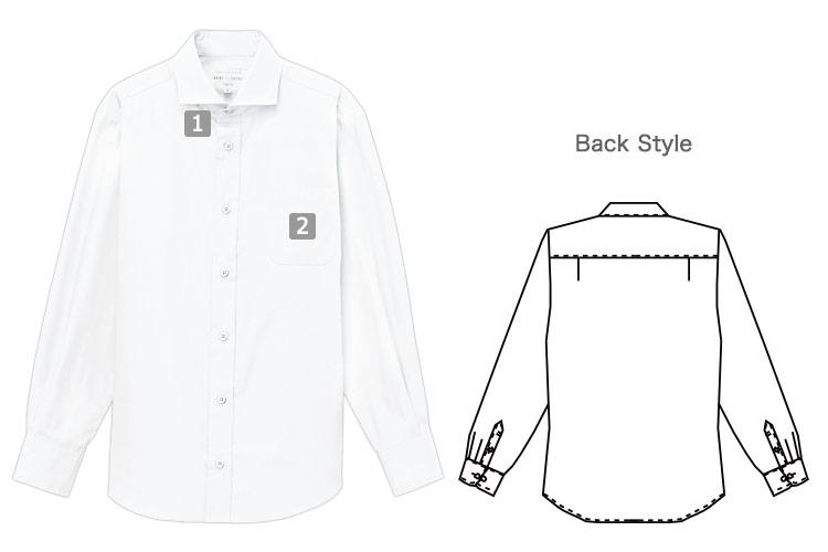 長袖ワイドカラーシャツ(31-EP8362)の商品詳細