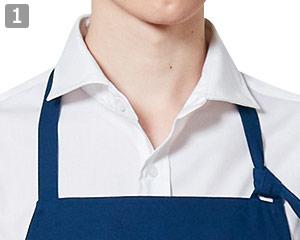 長袖ワイドカラーシャツのポイント�ワイドカラーとボタン
