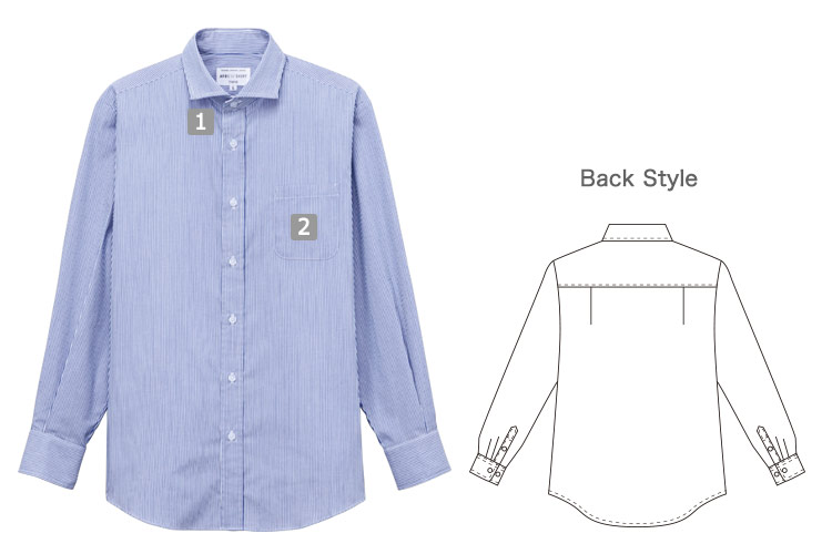 長袖ワイドカラーストライプシャツ(31-EP8368)の商品詳細