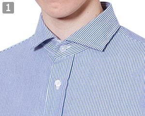 長袖ワイドカラーストライプシャツのポイント�ワイドカラー