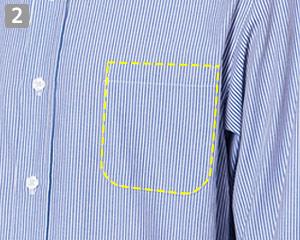 長袖ワイドカラーストライプシャツのポイント�左胸ポケット