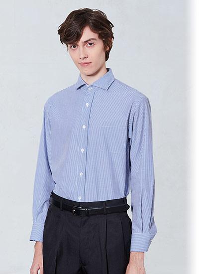 チトセの長袖ワイドカラーストライプシャツ(31-EP8368)のポイント画像