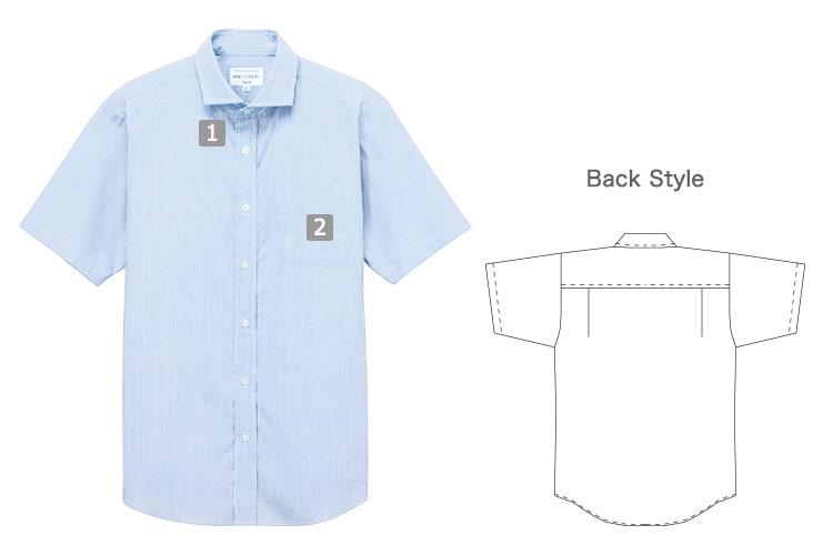 半袖ワイドカラーストライプシャツ(31-EP8369)の商品詳細