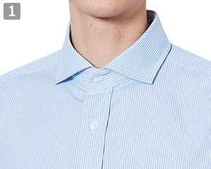 半袖ワイドカラーストライプシャツのポイント�ワイドカラー
