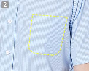 半袖ワイドカラーストライプシャツのポイント�左胸ポケット