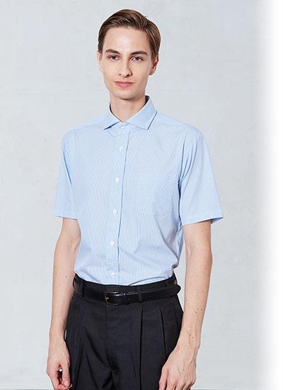 チトセの半袖ワイドカラーストライプシャツ(31-EP8369)のポイント画像