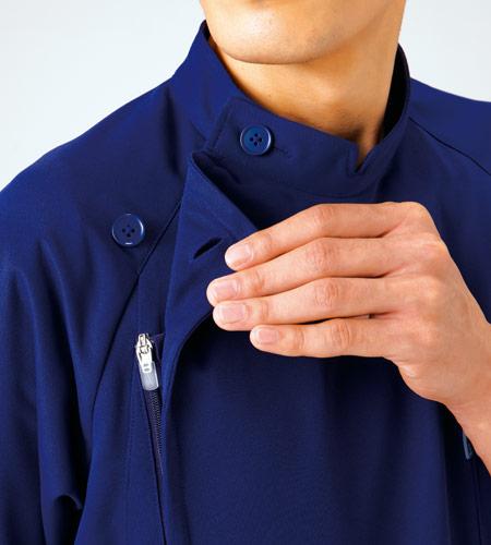 肩ボタン留めジッパー付きのイメージ図