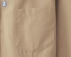 七分袖イタリアンカラーシャツのポイント�左胸ポケット付き