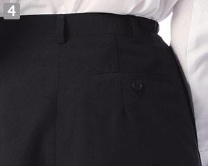ラップキュロットのポイント�右後片玉縁ポケット