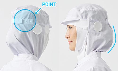髪の毛をしっかり包み込む安心設計の衛生帽子