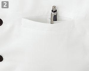 ショップコート/スタンドカラー(33-ET7730)の商品詳細「左胸片玉縁ポケット」