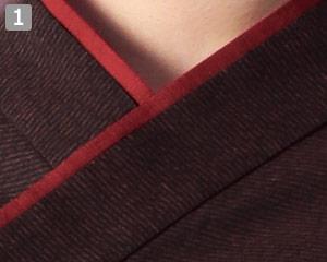 和風ショップコートのポイント�襟元配色使い