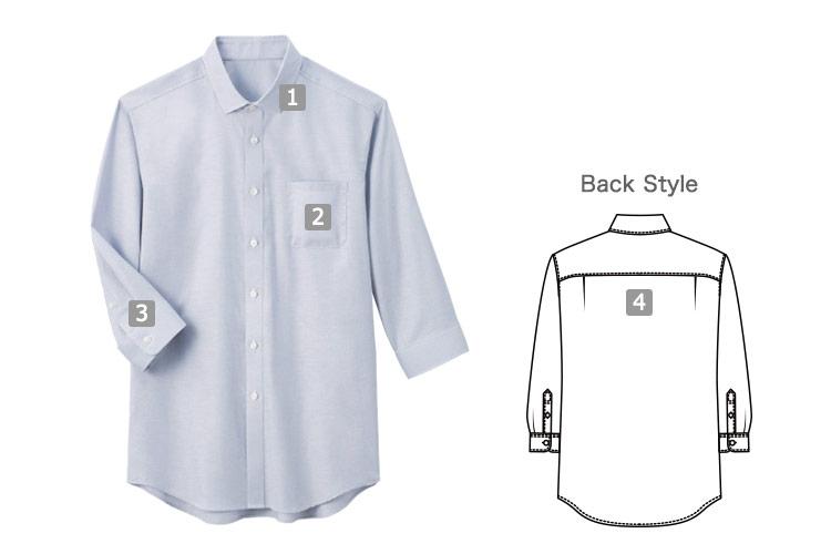 オックス・フォード七分袖セミワイドカラーシャツ(33-SBSU1810)の商品詳細