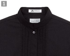ピンタックスタンドカラー七分袖ブラウス(34-FB4001L)の商品詳細「スタンドカラーの襟元」