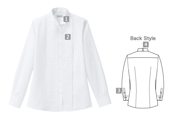 シワ・汚れに強い!上品なピンタックウィングカラーシャツ(34-FB4040L)の詳細