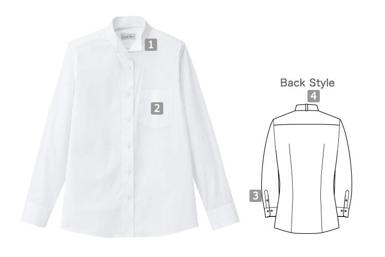 シワ・汚れに強いウィングカラーシャツ(34-FB4041L)の詳細