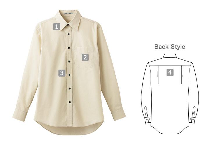 ブロードレギュラーカラー長袖シャツ(34-FB4526U)の商品詳細