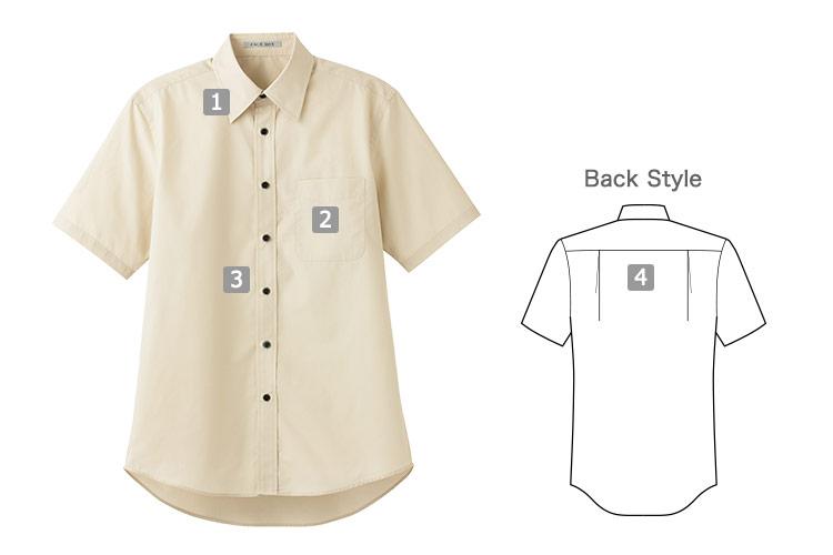 ブロードレギュラーカラー半袖シャツ(34-FB4527U)の商品詳細