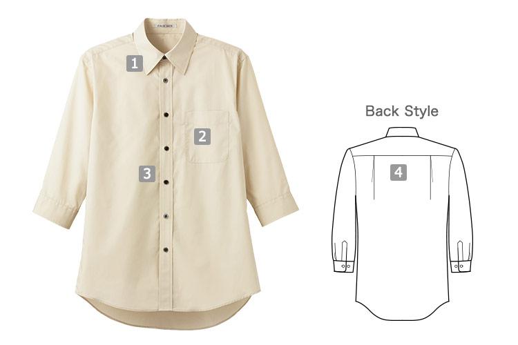 ブロードレギュラーカラー七分袖シャツ(34-FB4528U)の商品詳細
