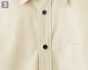 ブロードレギュラーカラー七分袖シャツ(34-FB4528U)の商品詳細「黒ボタン」
