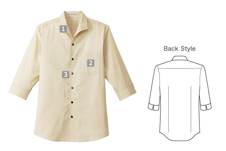 イタリアンカラー七分袖シャツ(34-FB5034M)の商品詳細